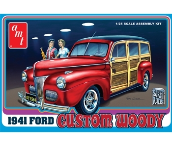 Byggmodell bil - 41 Ford Woddy inkl wood decal surf board - 1:25 - AMT