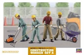 CONSTRUCTION WORKER SET A - 1:35 - Hasegawa