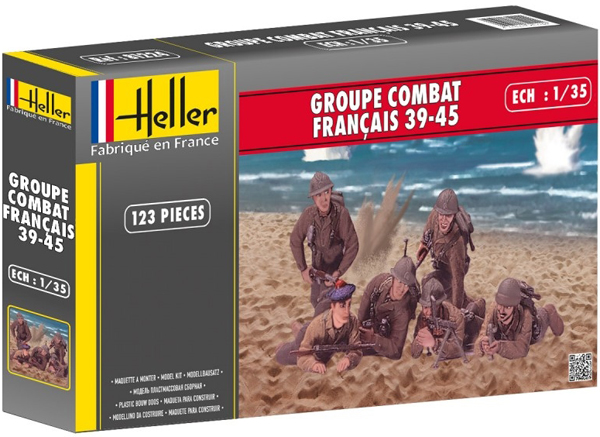 Byggmodell gubbe - French combat group 39-45 6 fig. equipm. - 1:35 - He