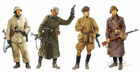 Byggmodell gubbe - Ostfront Winter Combatants 1942-43 4 Figures Set - 1:35 - Dragon