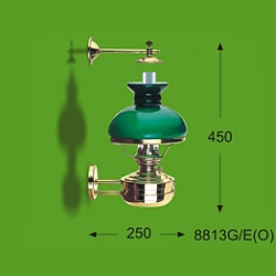 LIBERTY LAMP, GREEN SHADE.  8813G/O