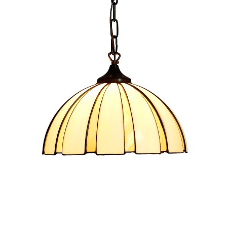 Coupe amber taklampa Tiffany handgjord. T82-45